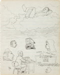 "Original Comic Art:Sketches, Robert Crumb ""Floating in the Clouds"" Two-Sided Sketchbook Page Original Art (c. 1960)...."