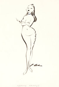 "Jack Cole Playboy Female by Cole ""Femme Fatale"" Illustration Original Art (Playboy, July 1956)"