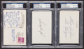 Baseball Collectibles:Others, Dodgers Greats Signed Index Cards Lot of 3. ...