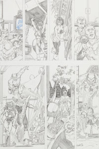 George Perez Unpublished JLA/Avengers Special Pencil Page 5 Original Art (c. 1983)