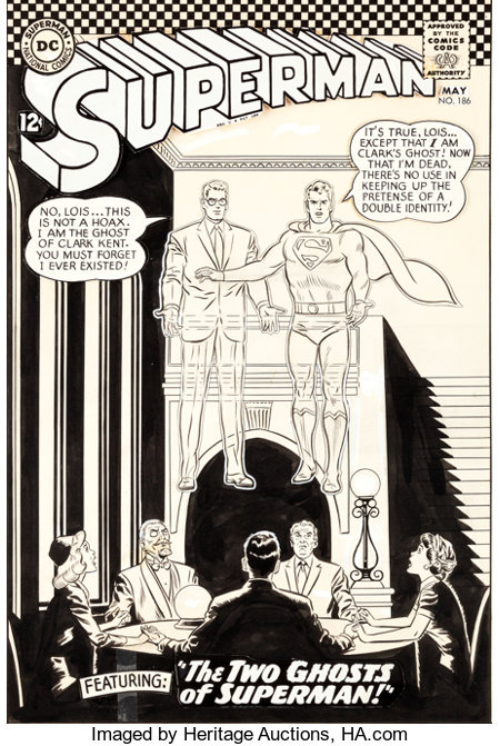 Curt Swan and George Klein Superman #186 Cover Original Art (DC, 1966)....