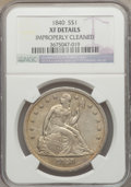 Seated Dollars: , 1840 $1 -- Improperly Cleaned -- NGC Details. XF. NGC Census:(18/208). PCGS Population (49/208). Mintage: 61,005. Numismed...