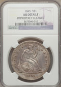 Seated Dollars: , 1845 $1 -- Improperly Cleaned -- NGC Details. AU. NGC Census:(9/102). PCGS Population (42/68). Mintage: 24,500. Numismedia...