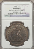 Seated Dollars: , 1849 $1 -- Improperly Cleaned -- NGC Details. AU. NGC Census:(17/197). PCGS Population (39/186). Mintage: 62,600. Numismed...