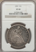Seated Dollars: , 1859 $1 XF40 NGC. NGC Census: (4/70). PCGS Population (18/105).Mintage: 255,700. Numismedia Wsl. Price for problem free NG...