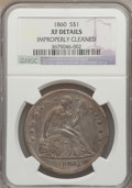 Seated Dollars: , 1860 $1 -- Improperly Cleaned -- NGC Details. XF. NGC Census:(3/100). PCGS Population (15/149). Mintage: 217,600. Numismed...