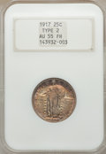 Standing Liberty Quarters, 1917 25C Type Two AU55 Full Head NGC; 1920-S XF45 NGC; 1927 AU58NGC.... (Total: 3 coins)