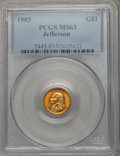 Commemorative Gold: , 1903 G$1 Louisiana Purchase/Jefferson MS63 PCGS. PCGS Population(552/2248). NGC Census: (263/1540). Mintage: 17,500. Numis...