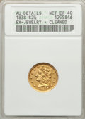 Classic Quarter Eagles: , 1838 $2 1/2 -- Cleaned, Ex-Jewelry -- ANACS. AU Details, Net XF40.NGC Census: (16/233). PCGS Population (18/123). Mintage:...