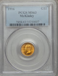 Commemorative Gold: , 1916 G$1 McKinley MS63 PCGS. PCGS Population (769/2990). NGCCensus: (368/1618). Mintage: 9,977. Numismedia Wsl. Price for ...