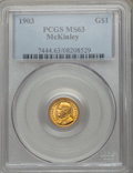 Commemorative Gold: , 1903 G$1 Louisiana Purchase/McKinley MS63 PCGS. PCGS Population(552/1942). NGC Census: (272/1402). Mintage: 17,500. Numism...