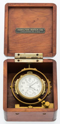 Timepieces:Pocket (post 1900), Hamilton Model 22 U.S. Navy Deck Watch With Later Made Box. ...