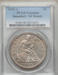 Seated Dollars, 1859-S $1 -- Smoothed -- PCGS Genuine. XF Details. NGC Census:(12/99). PCGS Population (29/115). Mintage: 20,000. Numismed...