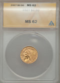Indian Quarter Eagles: , 1927 $2 1/2 MS62 ANACS. NGC Census: (5025/6719). PCGS Population(2668/5093). Mintage: 388,000. Numismedia Wsl. Price for p...