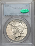 Peace Dollars: , 1935-S $1 MS62 PCGS. CAC. PCGS Population (574/3282). NGC Census:(408/2020). Mintage: 1,964,000. Numismedia Wsl. Price for...