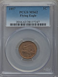 Flying Eagle Cents: , 1857 1C MS62 PCGS. PCGS Population (418/1960). NGC Census:(314/1681). Mintage: 17,450,000. Numismedia Wsl. Price for probl...