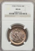 Commemorative Silver: , 1938-D 50C Texas MS66 NGC. NGC Census: (304/97). PCGS Population(278/83). Mintage: 3,775. Numismedia Wsl. Price for proble...