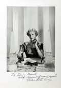 "Photography:Official Photos, INSCRIBED Publicity Photograph of Clare Boothe Luce From HerAmbassadorship in Italy. Inscribed Below the photo ""To Henry Ma..."