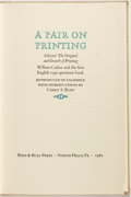 Books:Books about Books, [Books About Books]. Richard Atkyns and William Caslon. A Pairon Printing. North Hills, PA: Bird and Bull Press, 19...