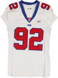 Football Collectibles:Uniforms, 2001 Michael Strahan Game Worn New York Giants Jersey - Used During 12/30/01 Vs. Eagles....