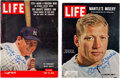 Autographs:Others, 1956-65 Mickey Mantle Signed Life Magazines Lot of 2....