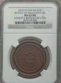 So-Called Dollars, 1876 Lovett's Battles of 1776, Battle of Sullivan's Island MS63 Brown NGC. Baker-441A, HK-94, R.6. Bronze....