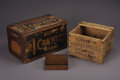 """Antiques:Decorative Americana, LOT OF COUNTRY STORE BASKETS - . a) """"Hood's Sarsaparilla"""" printingon all 4 sides; 16"""" x 14"""" x 11"""" tall; nailed corners;... (Total: 3Items)"""