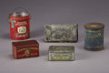 "Antiques:Decorative Americana, LOT OF VINTAGE LITHOGRAPHED TOBACCO TINS - . a) ""Miners andPuddlers Long Cut""; red; dented; no lid; original bale; 6½'...(Total: 5 Items)"