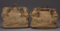 """Antiques:Decorative Americana, TWO EXPRESS COMPANY DOCUMENT BAGS - Leather and canvas bags used tocarry important mail and papers on rail cars. 20"""" x 15""""... (Total:3 Item)"""