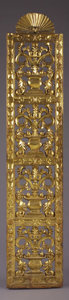 """Western Expansion:Cowboy, A SPANISH COLONIAL AMERICA GILT WOOD AND GESSO ALTAR SCREEN, CIRCA1700 84"""" x 17 1/2"""" - This highly ornate altar screen was ..."""