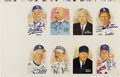 Autographs:Others, 1999 Hall of Famers Signed Perez-Steele Uncut Sheets Lot of 2.Here's something for the advanced collector of these popular...