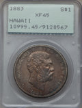 Coins of Hawaii: , 1883 $1 Hawaii Dollar XF45 PCGS. PCGS Population (164/259). NGCCensus: (63/205). Mintage: 500,000. ...
