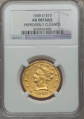 Liberty Eagles, 1848-O $10 -- Improperly Cleaned -- NGC Details. AU. Variety 1....