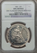Seated Dollars, 1841 $1 -- Obverse Planchet Streak Removed -- NGC Details. Unc....