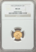 Commemorative Gold: , 1903 G$1 Louisiana Purchase/Jefferson MS64 NGC. NGC Census:(590/950). PCGS Population (926/1322). Mintage: 17,500. Numisme...