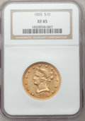 Liberty Eagles: , 1855 $10 XF45 NGC. NGC Census: (48/416). PCGS Population (58/154).Mintage: 121,701. Numismedia Wsl. Price for problem free...