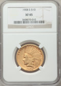 Indian Eagles: , 1908-S $10 XF45 NGC. NGC Census: (71/608). PCGS Population(66/534). Mintage: 59,850. Numismedia Wsl. Price for problem fre...