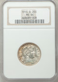 Barber Quarters: , 1915-D 25C MS64 NGC. NGC Census: (149/89). PCGS Population (196/165). Mintage: 3,694,000. Numismedia Wsl. Price for problem...