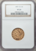 Liberty Half Eagles: , 1891-CC $5 VF25 NGC. NGC Census: (6/1904). PCGS Population (8/1480). Mintage: 208,000. Numismedia Wsl. Price for problem fr...