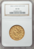 Liberty Eagles: , 1842 $10 Large Date XF45 NGC. NGC Census: (26/31). PCGS Population(21/39). Mintage: 81,507. Numismedia Wsl. Price for prob...