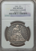 Seated Dollars, 1844 $1 -- Improperly Cleaned -- NGC Details. Unc....