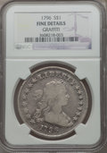Early Dollars, 1796 $1 Large Date, Small Letters -- Graffiti -- NGC Details. Fine. B-5, BB-65, R.2....