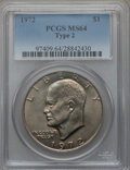 Eisenhower Dollars, 1972 $1 Type Two MS64 PCGS. PCGS Population (471/62). Numismedia Wsl. Price for problem free NGC/PCGS c...