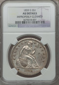 Seated Dollars, 1859-S $1 -- Improperly Cleaned -- NGC Details. AU....
