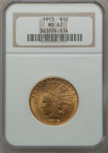 Indian Eagles: , 1913 $10 MS62 NGC. NGC Census: (1976/1144). PCGS Population(1775/1119). Mintage: 442,071. Numismedia Wsl. Price for proble...
