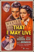 """Movie Posters:Crime, That I May Live (20th Century Fox, 1937). One Sheet (27"""" X 41"""").Crime.. ..."""