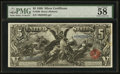 Large Size:Silver Certificates, Fr. 269 $5 1896 Silver Certificate PMG Choice About Unc 58.. ...