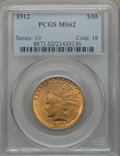 Indian Eagles: , 1912 $10 MS62 PCGS. PCGS Population (2123/1219). NGC Census:(2590/1316). Mintage: 405,083. Numismedia Wsl. Price for probl...