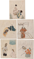 Books:Original Art, [Japanese Prints]. Noh, Classical Musical Theater depicted in fiveantique partially color prints likely made with woodblock...(Total: 5 Items)