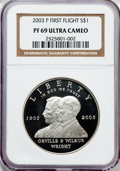 Modern Issues: , 2003-P $1 First Flight Silver Dollar PR69 Ultra Cameo NGC. NGCCensus: (2708/199). PCGS Population (1832/73). Numismedia W...
